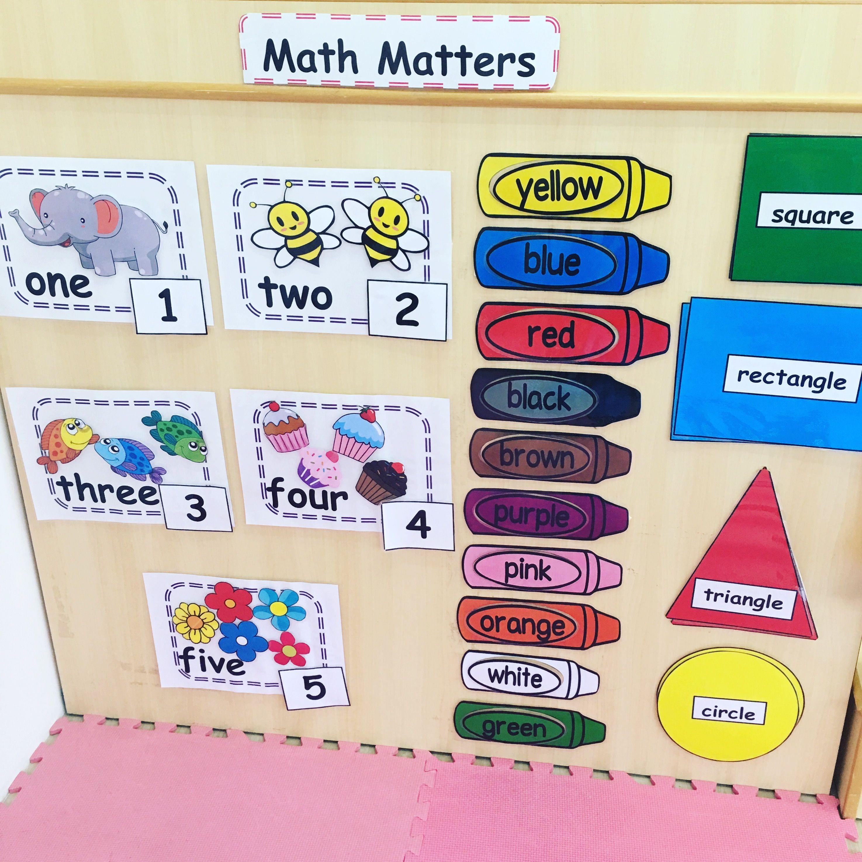 Pre Nursery Wall Math Corner Shapeslourmbers 1 To 5