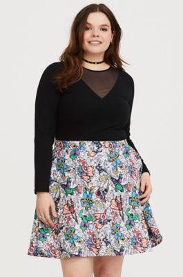 d36c58cd17 Imported plus size skirt. Marvel Avengers Comic Print Skater Skirt in Purple