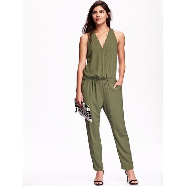 88b9776a0f2 Old Navy Womens Cross Front Drapey Jumpsuit ( 20) ❤ liked on Polyvore  featuring jumpsuits