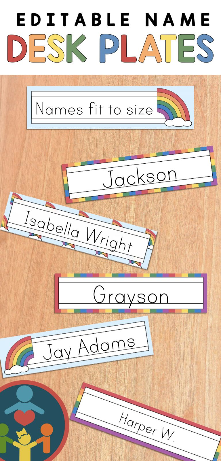 Rainbow Desk Name Plates : Editable Desk Strips | Kindergarten ...
