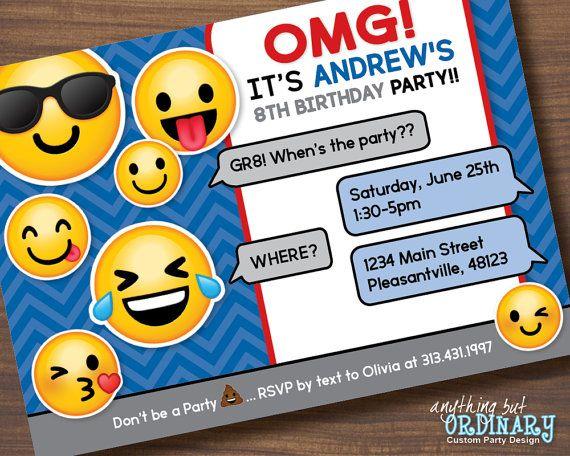 Personalised Emoji Party InvitationsKids Emoji Themed Birthday Party Invites