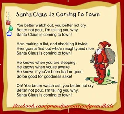 He Is Coming To Town Preschool Christmas Songs Christmas Carols For Kids Christmas Songs For Kids