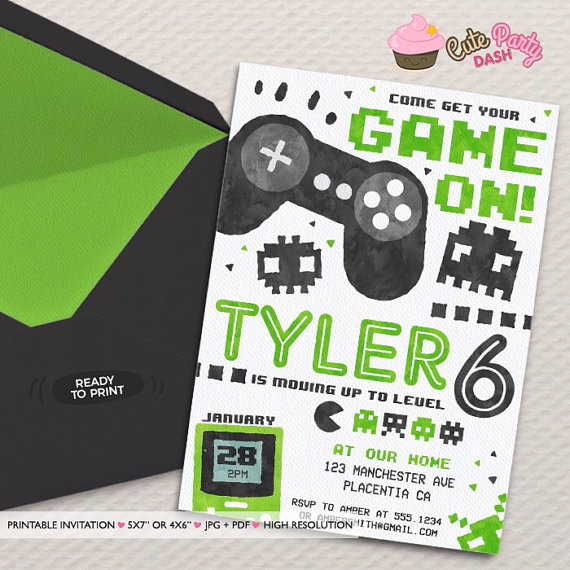 Video Game Party Invitation Video Game Birthday Invitations Etsy Video Games Birthday Video Game Party Invitation Video Games Birthday Party