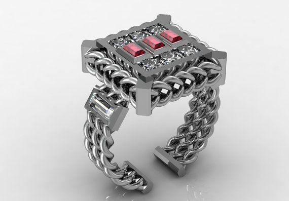 14k White Gold Luxurious and Modern Engagement or by VOLISA, $2500.00