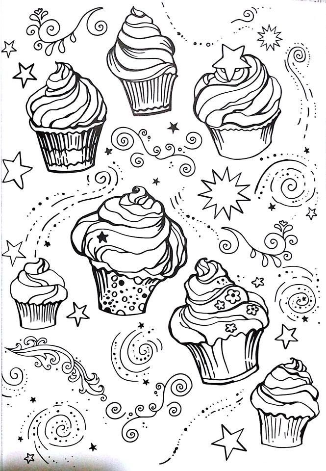 cupcakes pages 125 coloring page : livro de colorir arteterapia ...