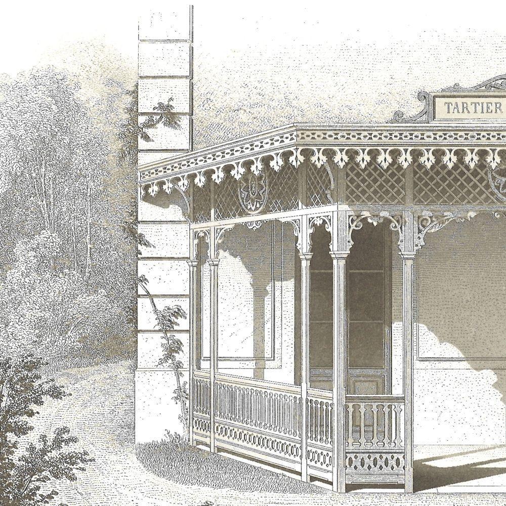 Architectural Print of a Garden Verandah 1873 by CarambasVintage
