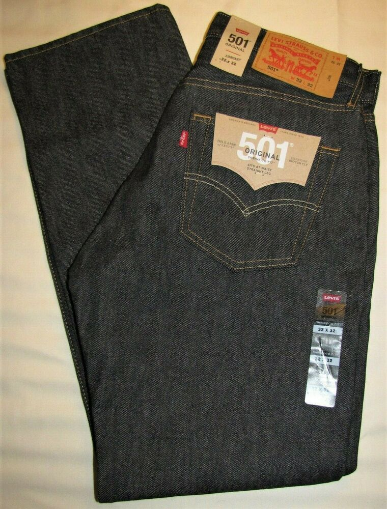 e8b18c9b940 LEVI'S 501 ORIGINAL SHRINK TO FIT RAW DENIM BLUE JEANS SIZE 32 x 32 NWT  STRAIGHT #Levis #ButtonFly