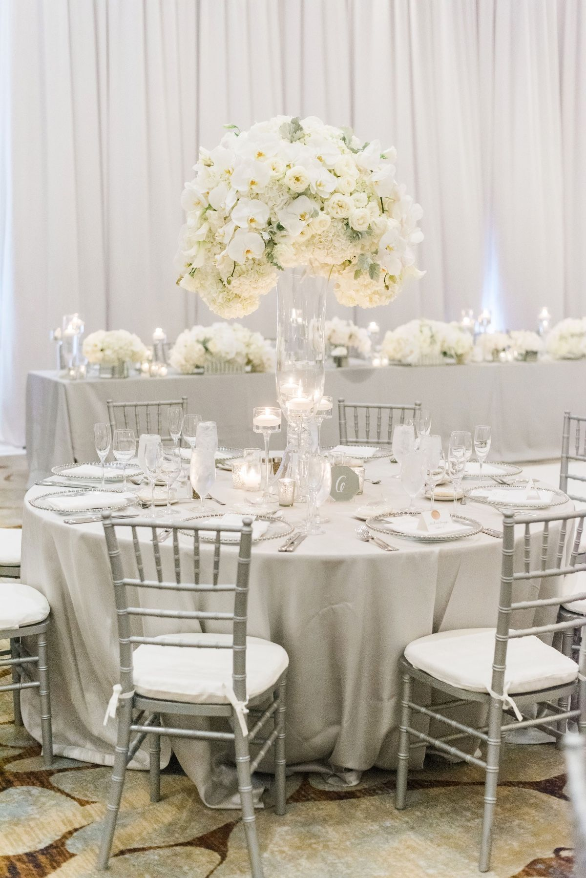 Luxury Glam Wedding In Silver And White White Wedding