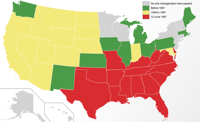 US Map of Dates of Repeal of US Anti-Miscegenation Laws by State