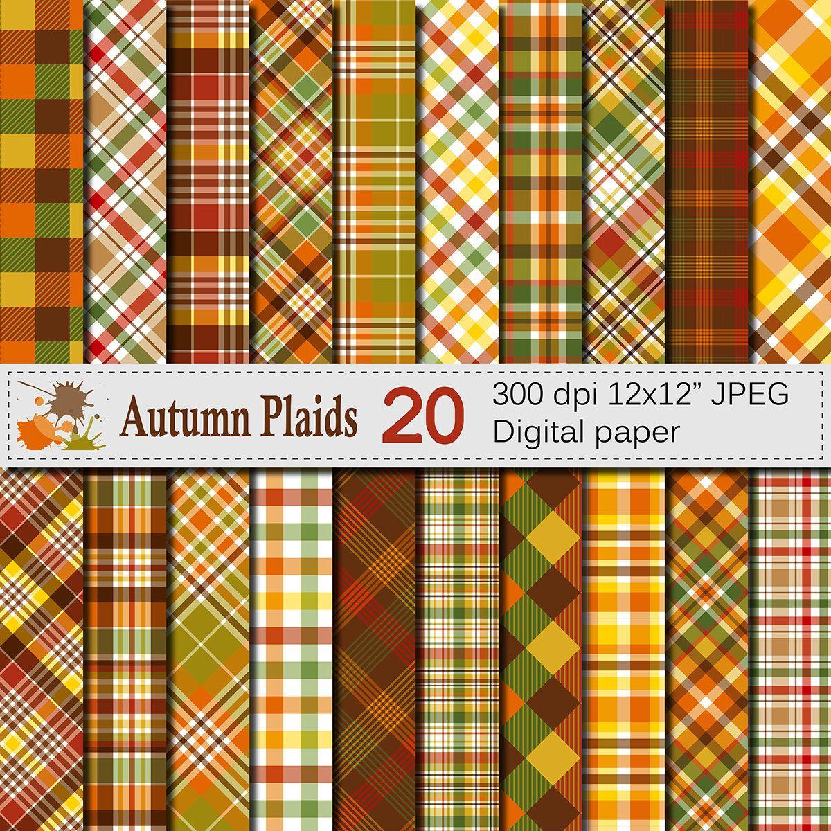Autumn Plaid Digital Paper Fall Plaid Patterns Thanksgiving Etsy Digital Paper Printable Scrapbook Paper Scrapbook Paper