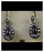 Antique Georgian Garnet & Diamond Pendant Earrings - Heritage Jewellery