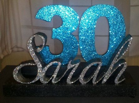 Diy milestone birthday your name and number custom cut for Glitter numbers for centerpieces