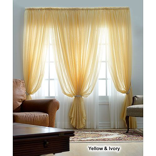 Roma Ii Voile Sheer Rod Pocket Panel Curtains Farm House Living