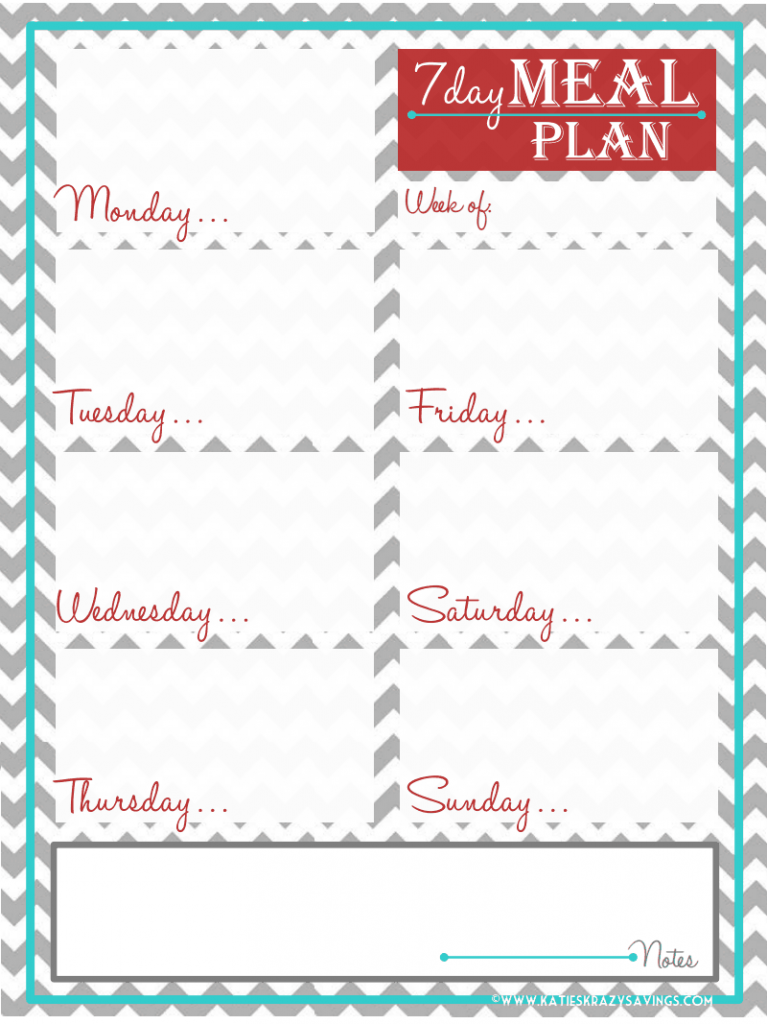free seven day meal planner printable recipes pinterest meal