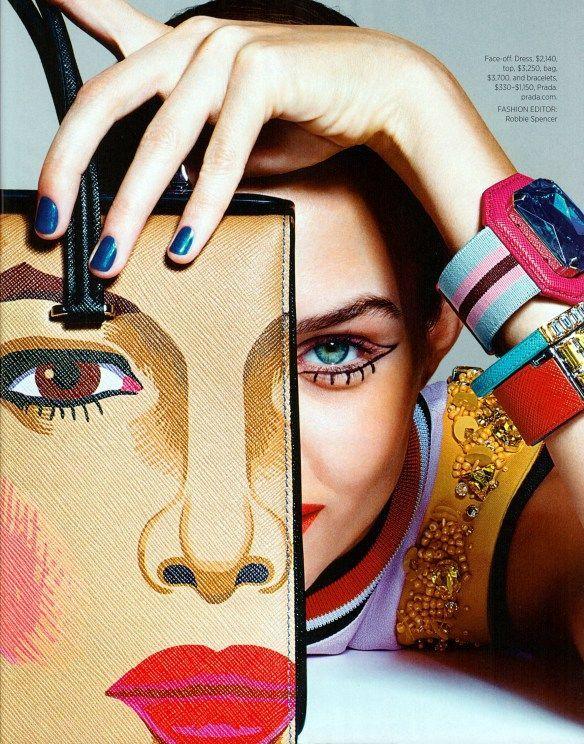 """Josephine Skriver in """"Art Inspired"""" by Richard Burbridge for Harper's Bazaar USA February 2014"""