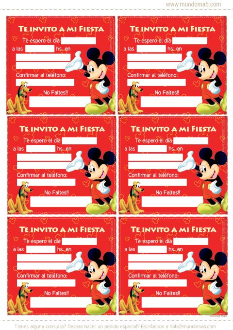 Mickey Mouse Tarjetas De Cumple Para Imprimir Invitación