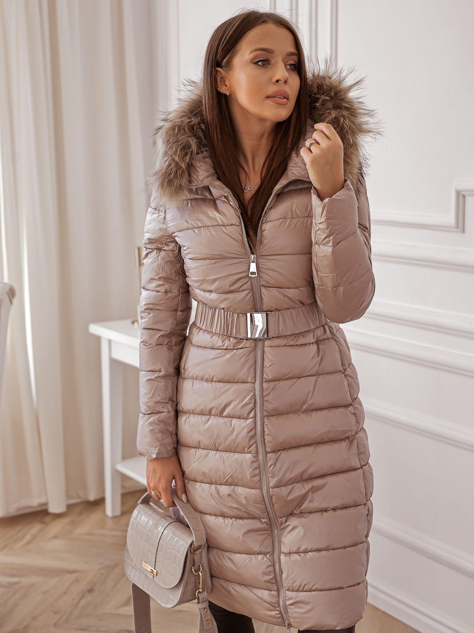 Zimowa Kurtka Taliowana Bezowa Fashion Jackets Winter Jackets