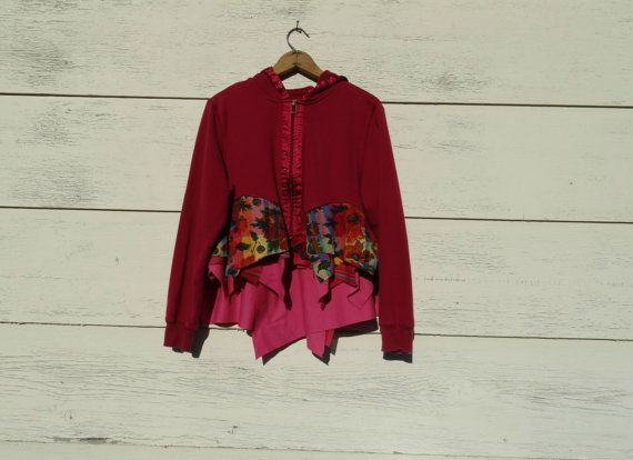 Upcycled Clothing / Funky Eco Upcycled Hoodie by CuriousOrangeCat, $65.00