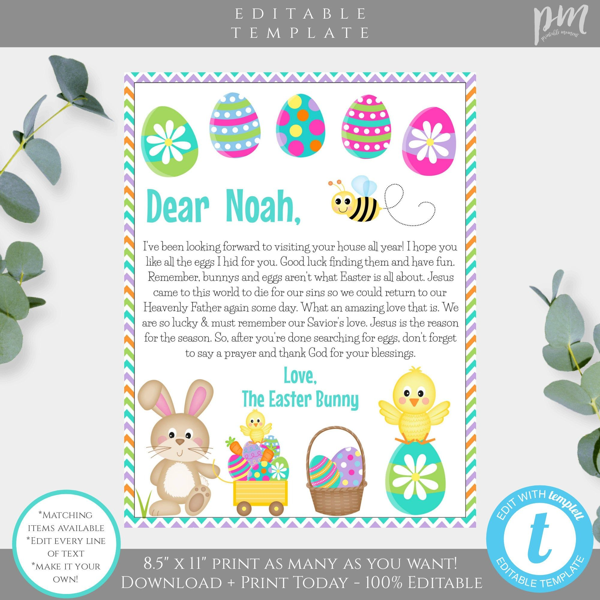 Editable Letter From The Easter Bunny Letter From The Easter