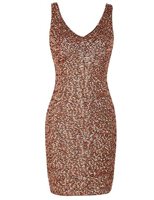 09097c73436c Amazon.com: PrettyGuide Women's Sexy Deep V Neck Sequin Glitter Bodycon  Stretchy Mini Party Dress: Clothing. Gold Pink