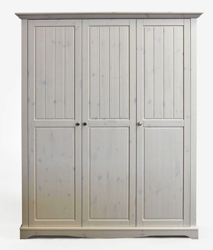 Schlafzimmerschrank weiß  Lotta Kleiderschrank 3-trg. aus massiver Kiefer in weiss ...