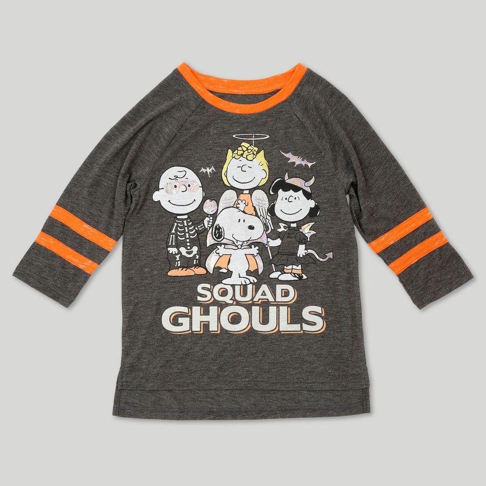 girls' peanuts halloween long sleeve t-shirt - charcoal heather xl
