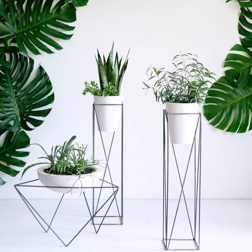 Soportes de estructura alámbrica para macetas • Nice plant stands ...