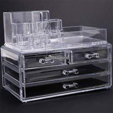 New Makeup Cosmetics Organizer Clear Acrylic Drawers Grids Display