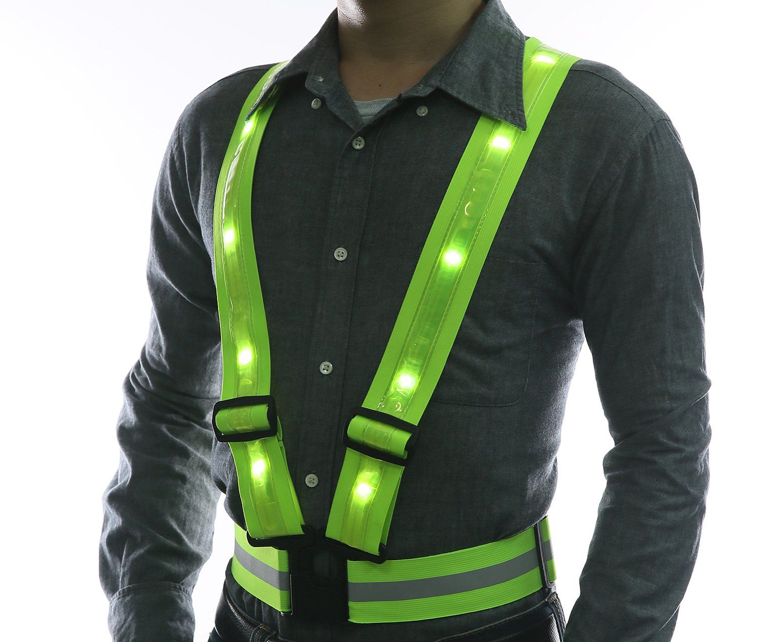 LED Reflective Safety Vest by GlowseenUSB Rechargeable