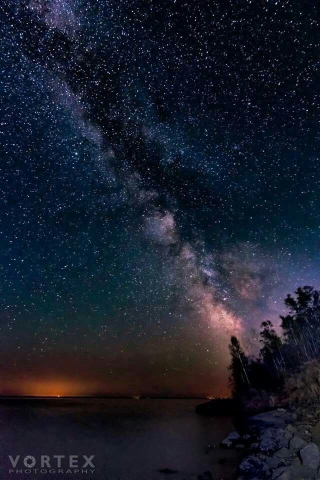 The Milky Way Over Lake Superior At Split Rock Lighthouse State Park. Photo  By Danny