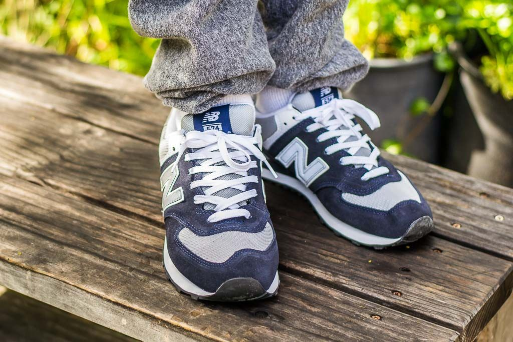 on sale b3abb 7ccbe See how the New Balance 574 Navy   Grey (M574BGS) looks on feet in this  video review before you cop! Find out where to buy these New Balance 574s  online!
