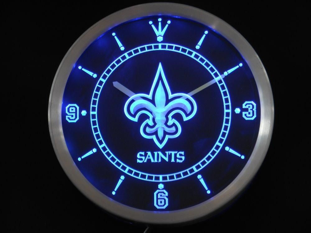 New Orleans Saints Neon Sign Led Wall Clock Best Funny Store Led Wall Clock Neon Clock Wall Clock