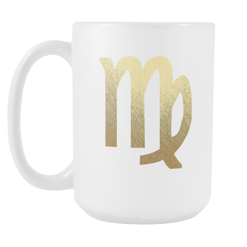 Virgo Gold Sign 15oz White Mug Zodiac Zodiac Sign Zodiac