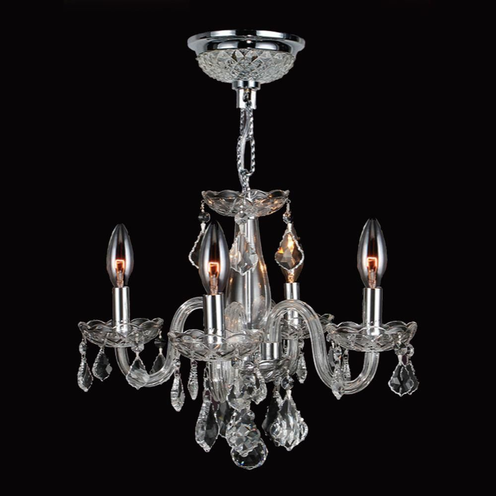 Worldwide Lighting Clarion Collection 4 Light Polished Chrome Crystal Chandelier With Clear Glass