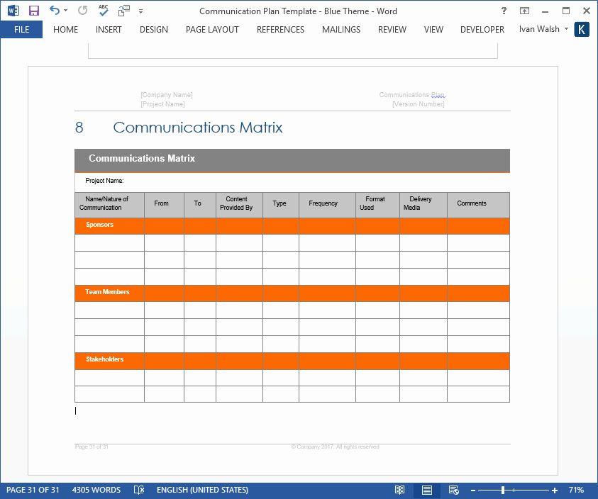 Sample Communications Plan Template Beautiful Munication