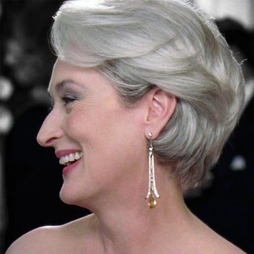 Another Side View Of Miranda Priestly S Hair Curly Hair Styles Short Hair Styles Short Hair Color