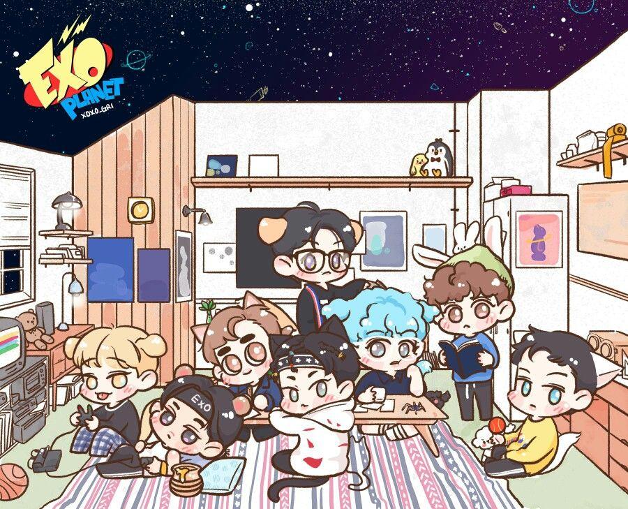Exo Power Exo Fan Art Exo Chibi Exo Stickers Wallpaper laptop exo kartun hd