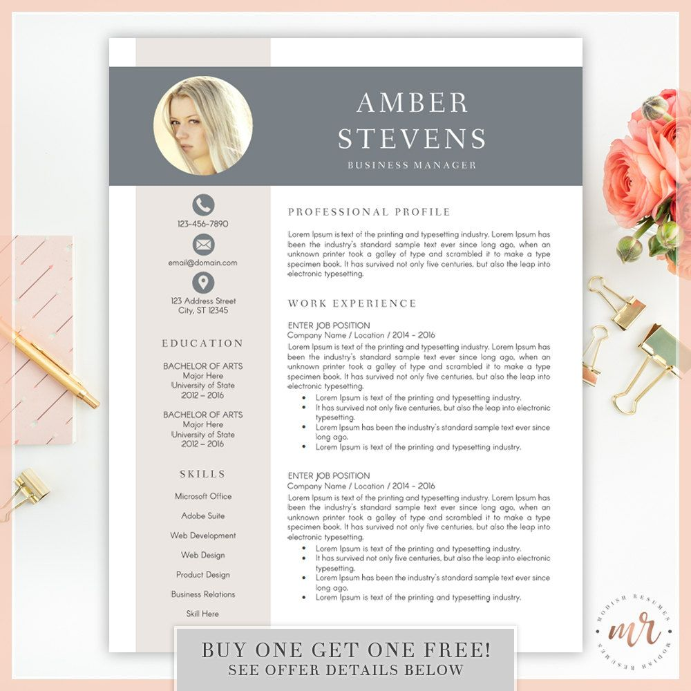 Creative Resume Template For Word INSTANT DOWNLOAD Modern Resume
