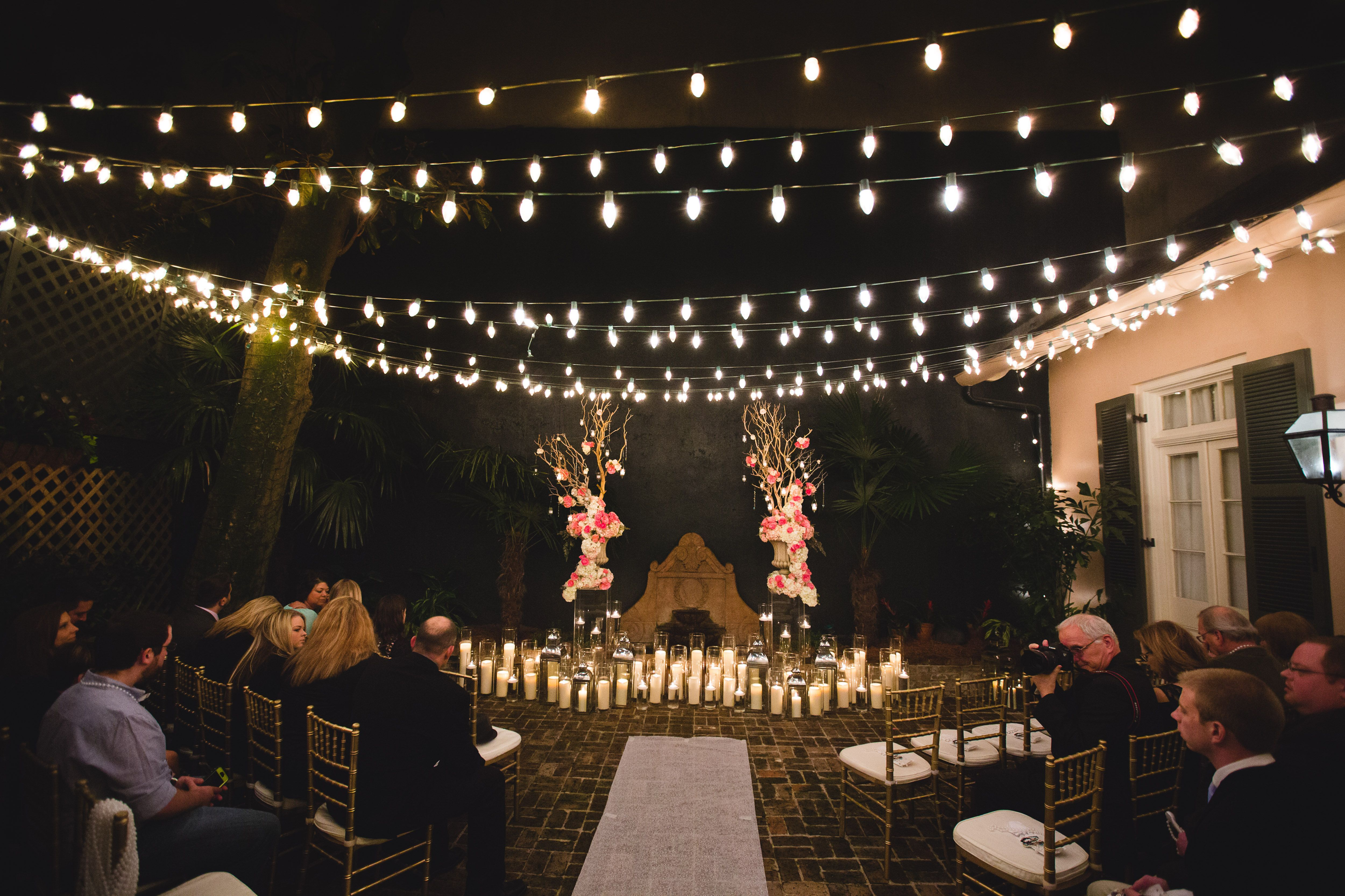 Nighttime Wedding In The Courtyard Bourbon Orleans Intimate