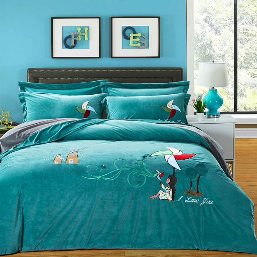 Top Quality 100 Polyester 4 Pieces Bedding Sets Crystal