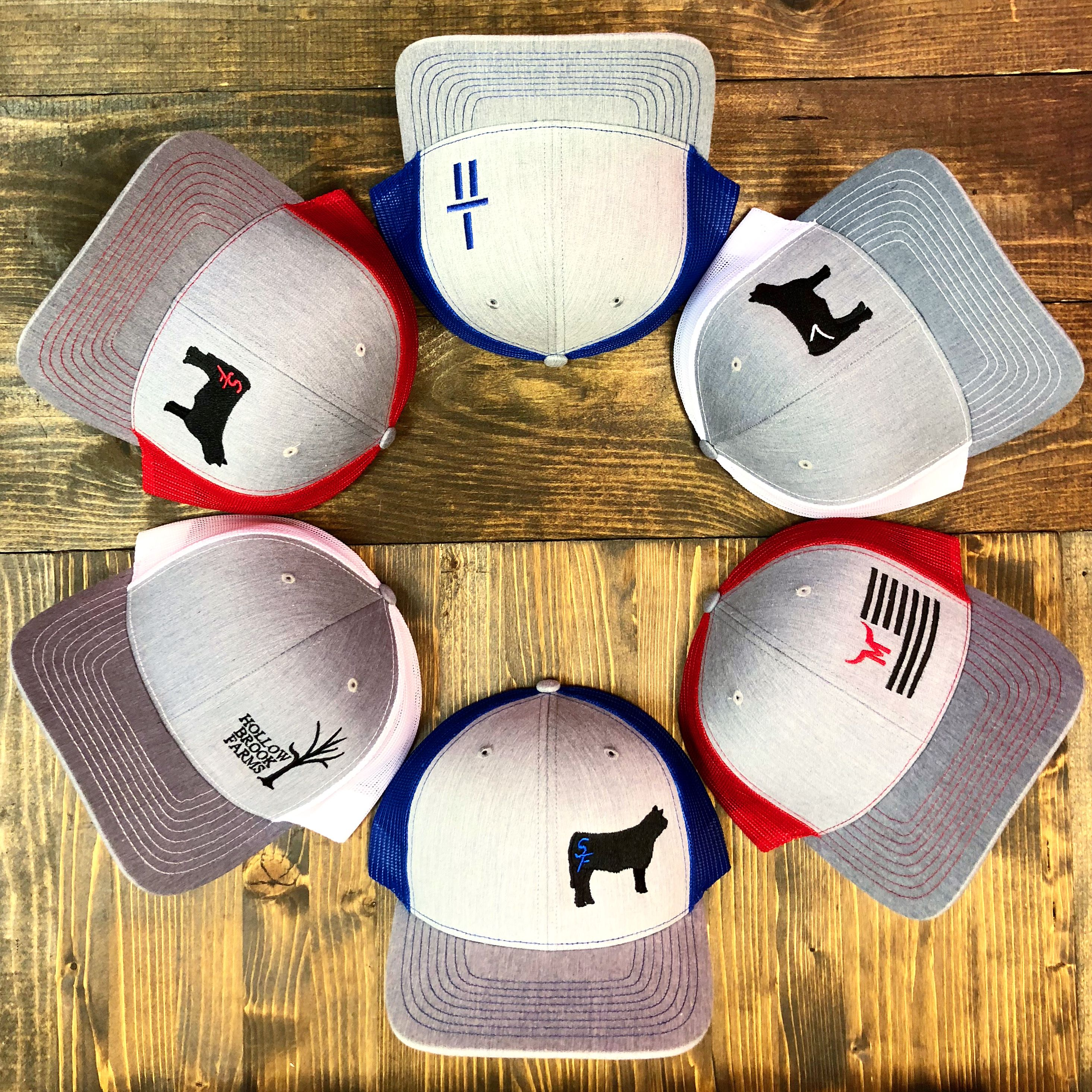 Hats and apparel customized with your brand or farm/ranch