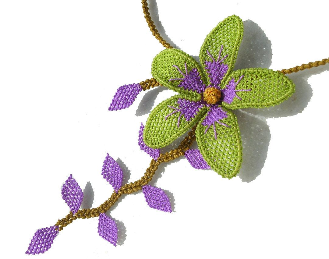 Lime green purple lilac needle lace crochet orchid necklace flower leaf nature necklace boho gypsy shabby chic necklace tatting TAGT.