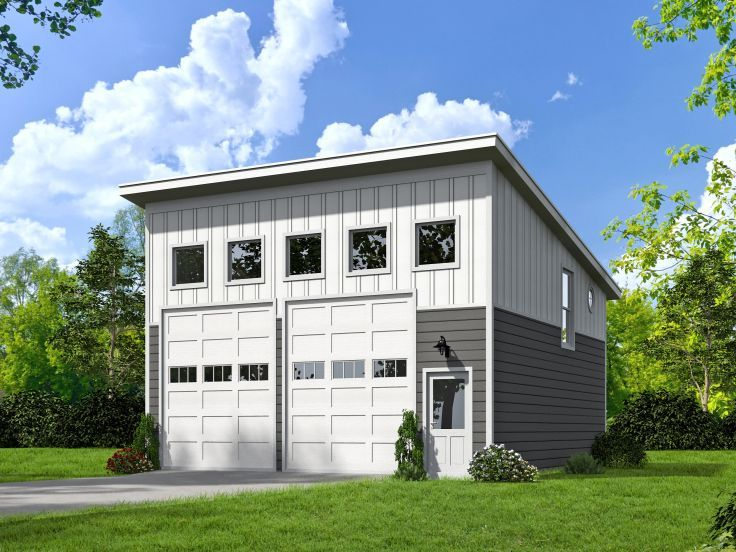 Expand to 4 car garage with one of the bays being an for Modern garage plans with loft