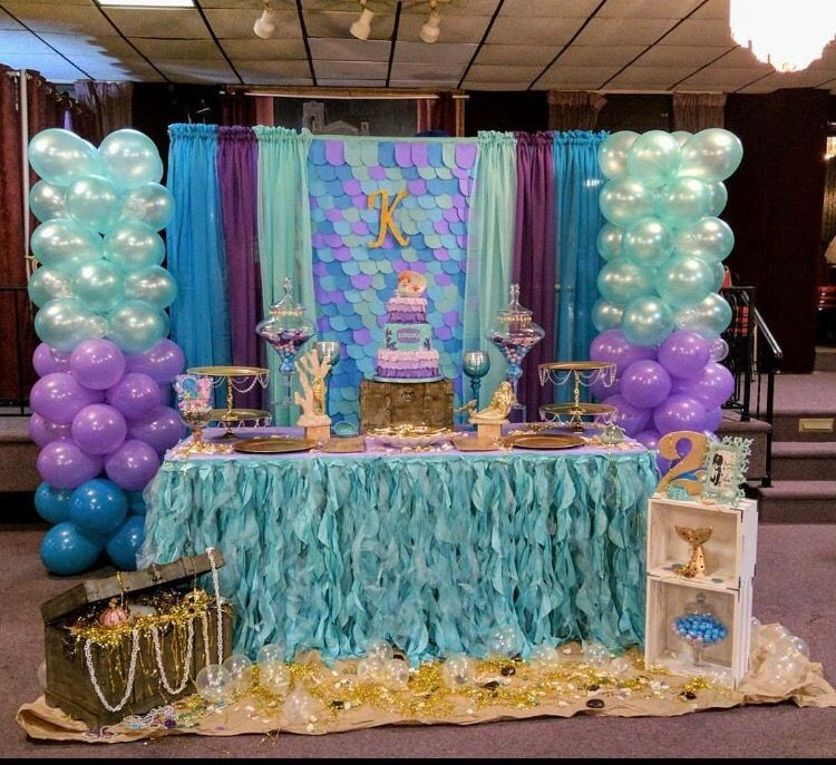 Mermaid Theme Party Desert Table And Back Drop Mermaid Party Decorations Mermaid Theme Party Mermaid Parties