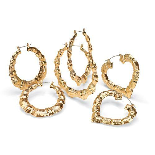 PalmBeach Jewelry 14k Yellow Gold-Plated Bamboo Style Hoop Earrings 3-Pairs Set Palm  sc 1 st  Pinterest & PalmBeach Jewelry 14k Yellow Gold-Plated Bamboo Style Hoop ...