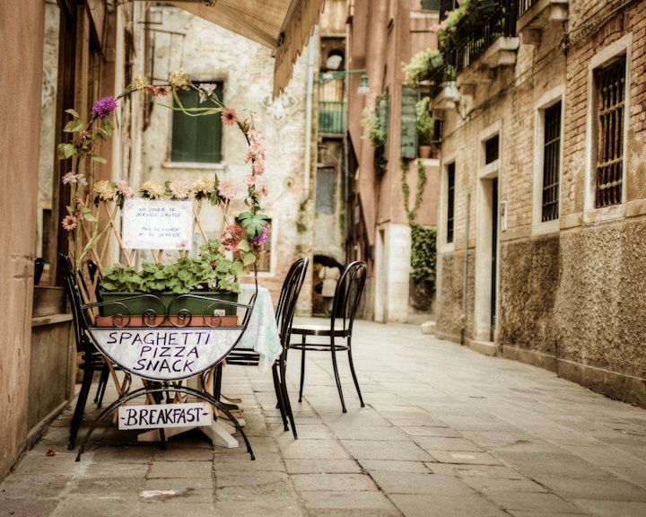 Cafe Photography Venice Photograph Italy Photo Vintage Italy Food