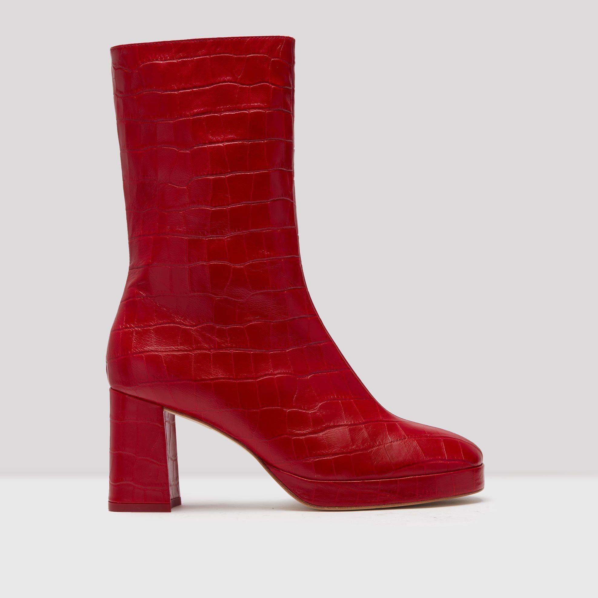 08644e15b568 Miista-Carlota Red Croc Leather Boots-   Botas   Pinterest