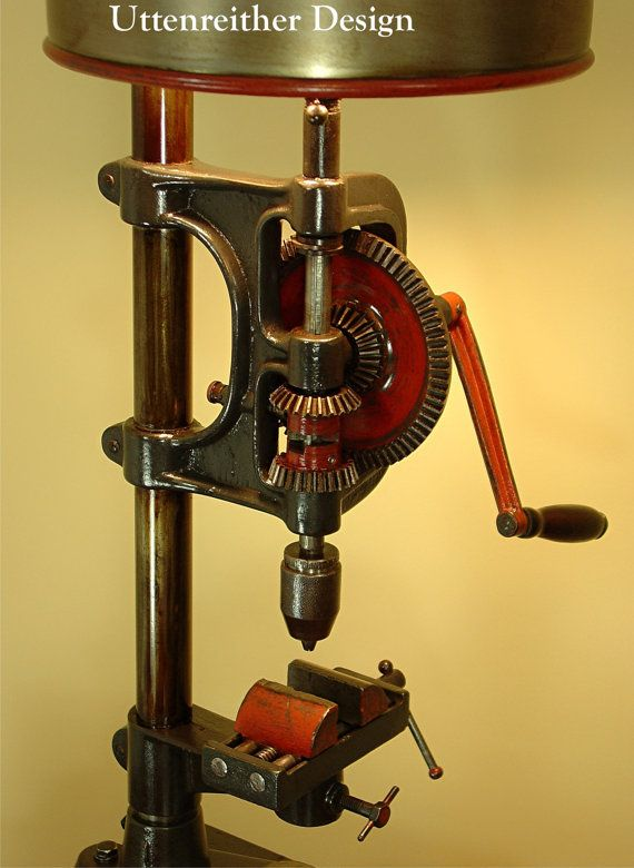 Vintage Industrial Drill Press Table Lamp By Uttenreitherdesign Antique Table Lamps