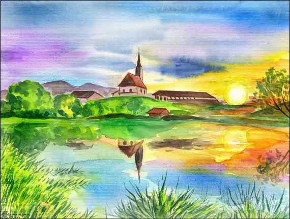Original Aquarell Bild Landschaft See Meer Sonnenuntergang Kirche