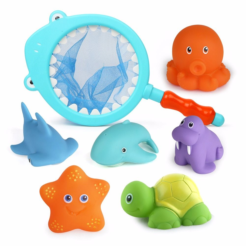 Beiens 7pcs Cute Mixed Animals Swimming Water Toys Colorful Soft ...